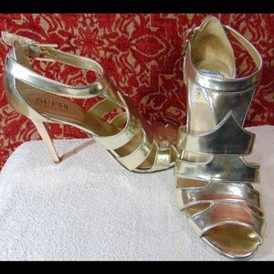 "GUESS pale GOLD VEGAN 6 M stiletto strappy 4"" heel"